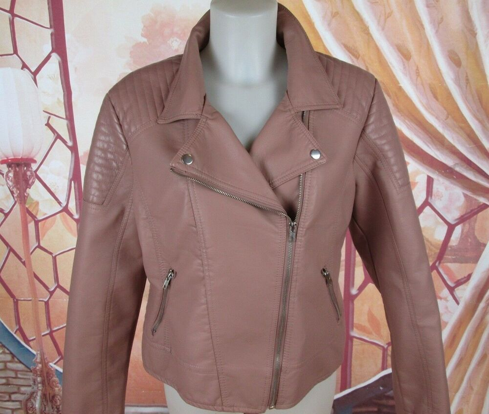 New Look Pink Mauve Non Leather Moto Jacket Size XL