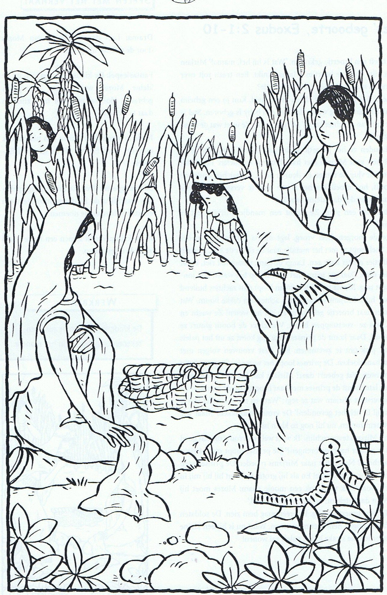 Kleurplaat: baby Mozes. Baby Moses coloring sheet. | Sunday School ...