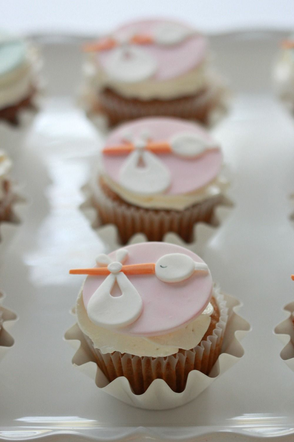 Stork Baby Shower Cupcake Toppers How To Baby Shower Cupcake Cake