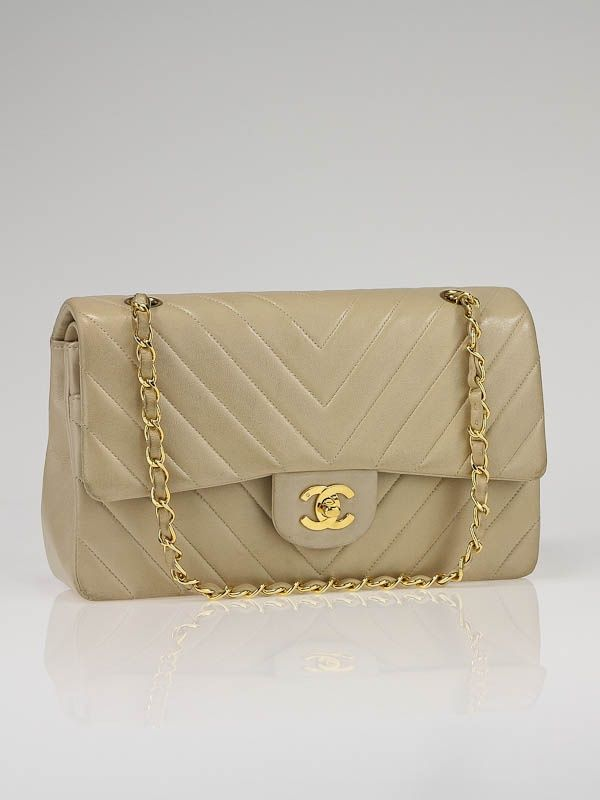 e09ce1ae2446 Chanel Beige Chevron Quilted Lambskin Leather Classic Medium Double Flap Bag