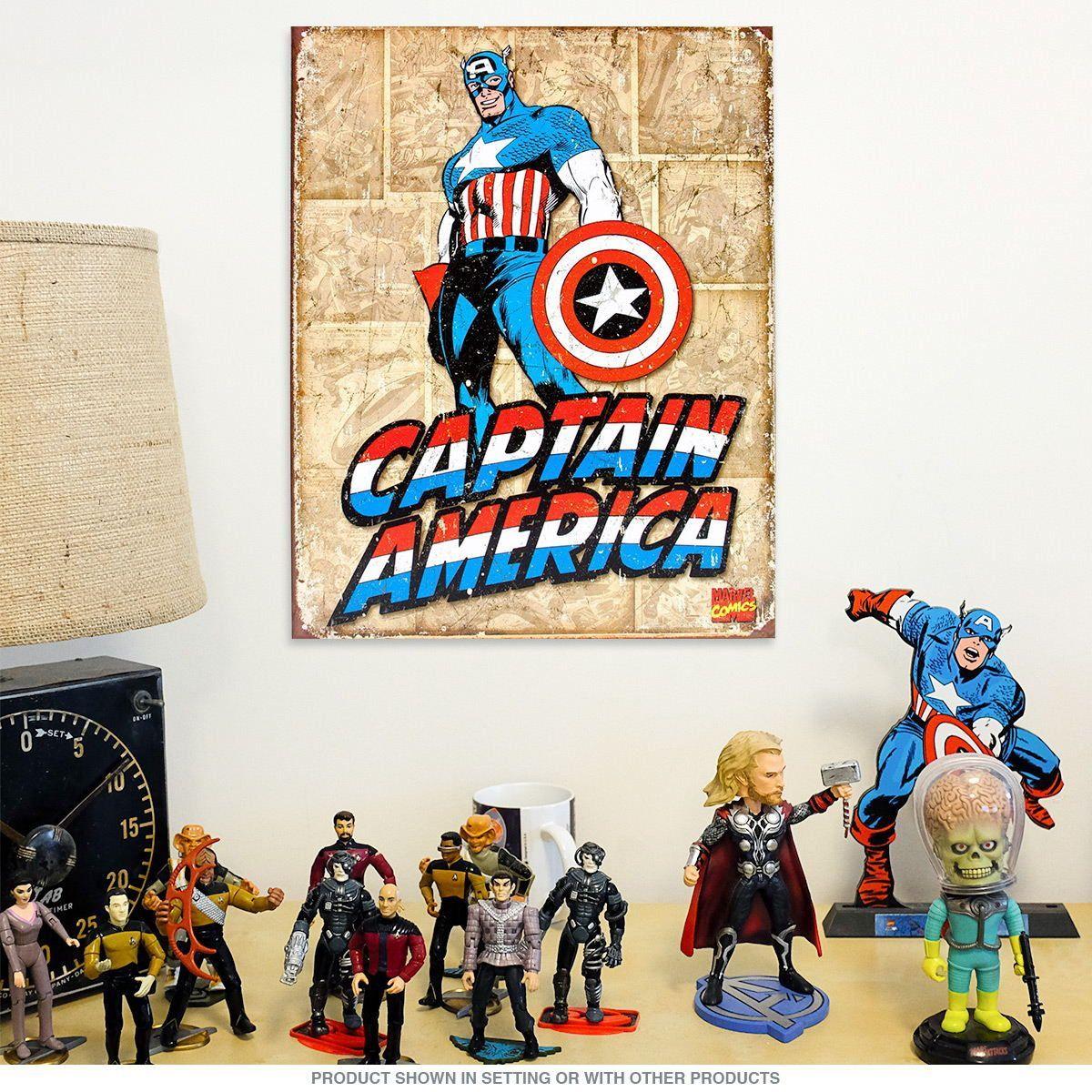Retro Kitchen Wall Decor Captain America Tin Sign Nostalgic Retro Funny Vintage Tin Sign