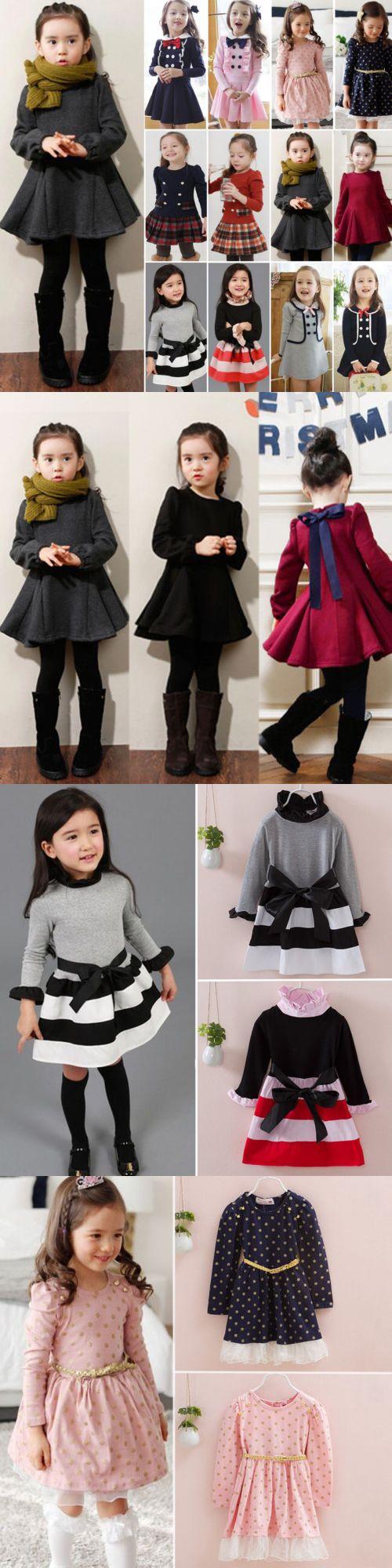 Toddler Kids Baby Girl Winter Skater Dress Long Sleeve Party Dress