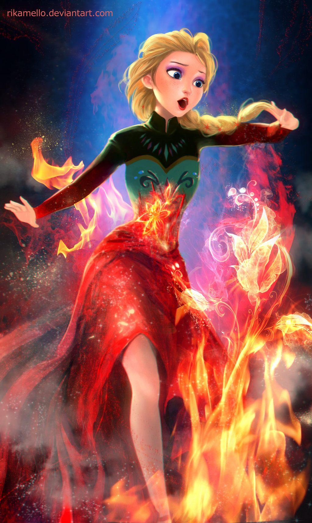 If Elsa had fire power... Princesas disney dibujos