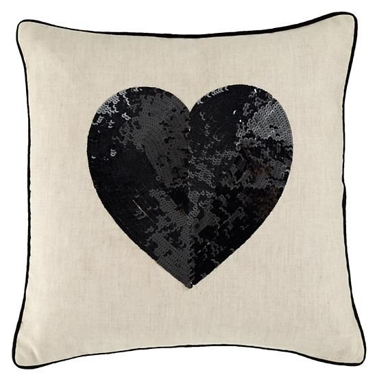 gorgeous throw pillow featuers a big heart made of sequins - Black Decorative Pillows