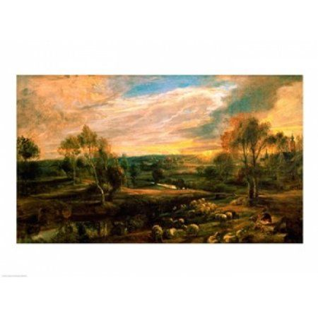 Posterazzi A Landscape with a Shepherd and his Flock Canvas Art - Peter Paul Rubens (36 x 24)