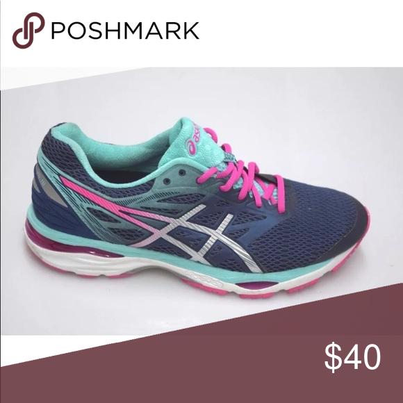 Asics Gel Cumulus 18 Blue Pink Running Shoes 10 Pink Running Shoes Asics Running Shoes