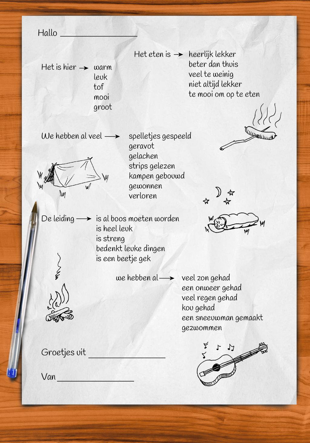 Voor kinderen die op kamp gaan en niet graag brieven schrijven