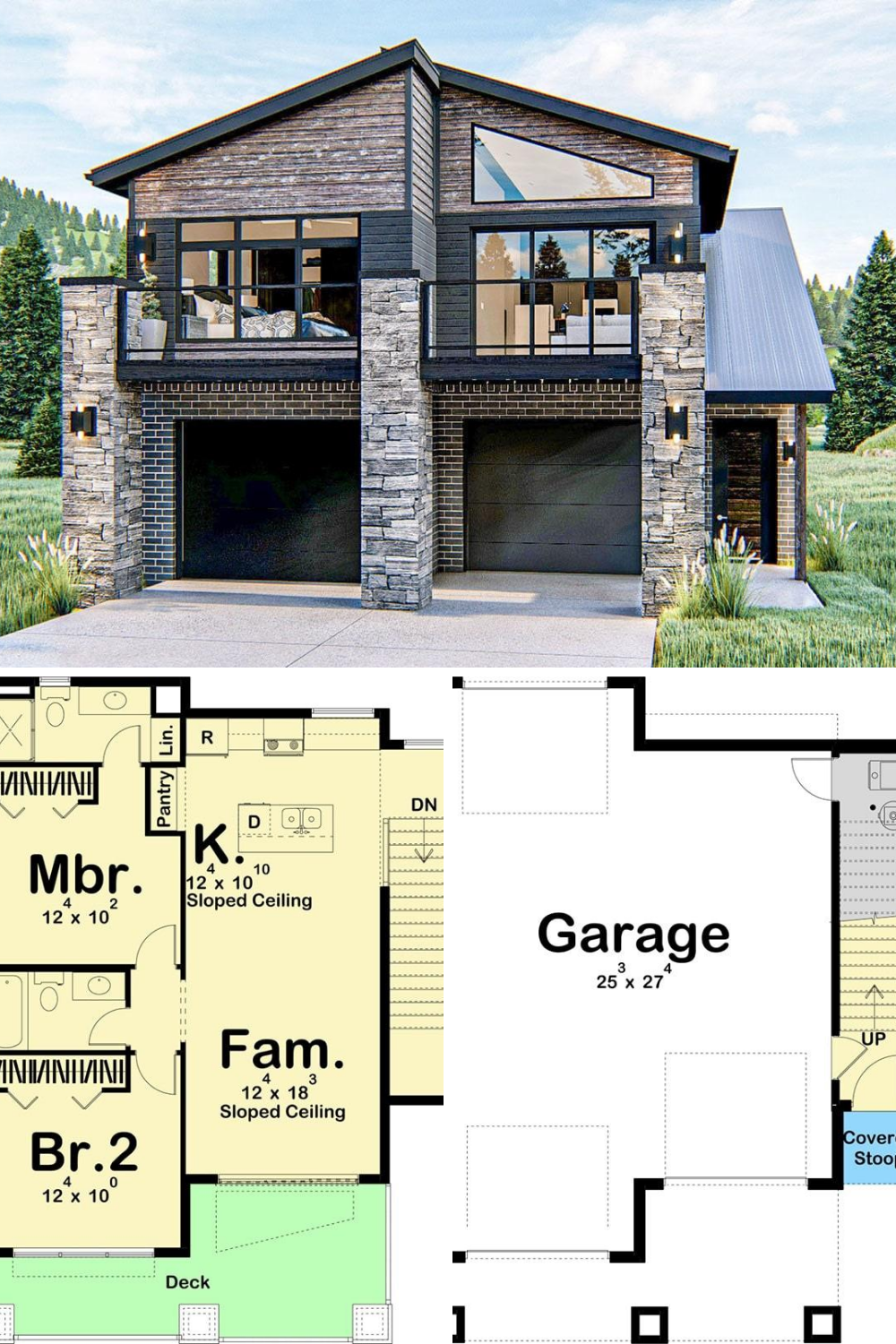 2 Bedroom Two Story Modern Mountain Carriage Home Floor Plan Carriage House Plans Floor Plans Mansion Floor Plan