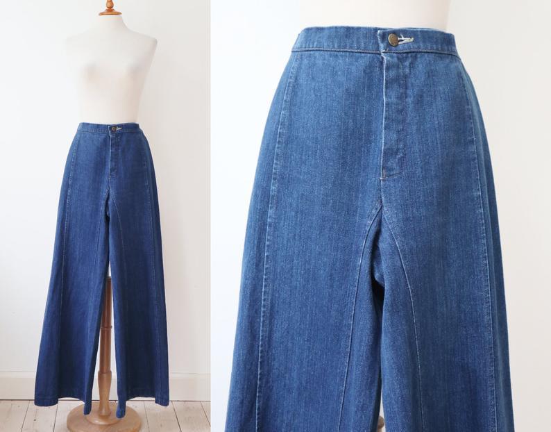 Photo of Blue 1969s Vtg. Denim Flare High Waisted Jeans // 3B Bukser // 100% Cotton // Size 36 // Made In Denmark