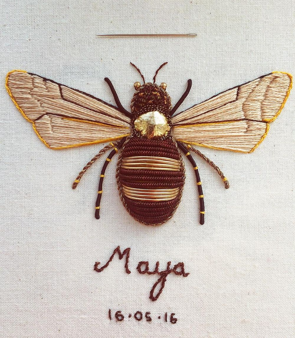 Embroidery Artist Humayrah Bint Altaf Stitches Fabulously Ornate Insects  And Trees That Incorporate Antique Gold Twist