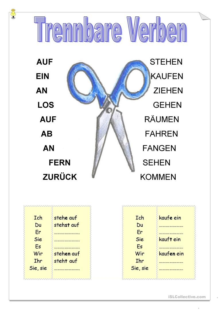 Trennbare Verben | idiomas | Pinterest | German, German language and ...