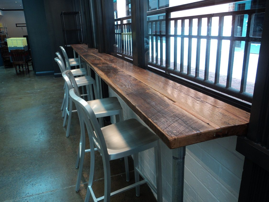 Wood Bar Top Reclaimed Skip Planed Oak Bar Top At Table 3 Market In Nashville