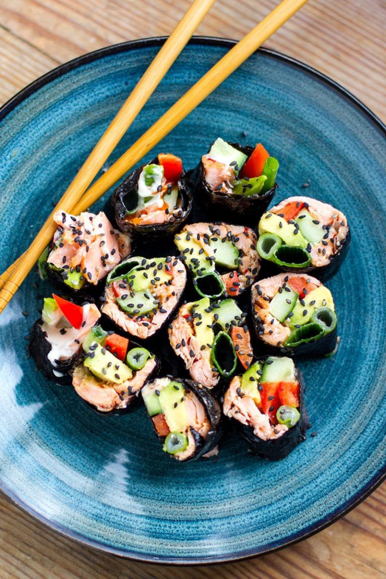 Paleo Sushi Rolls With Nori, Salmon & Avocado (Whole30