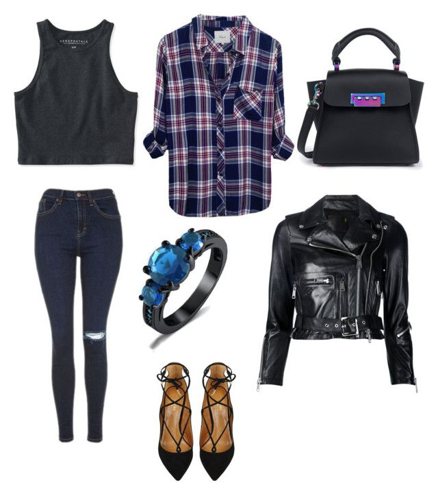 """""""Untitled #17"""" by thenamesmames on Polyvore featuring Aéropostale, Topshop, R13, ZAC Zac Posen, Rails and Aquazzura"""
