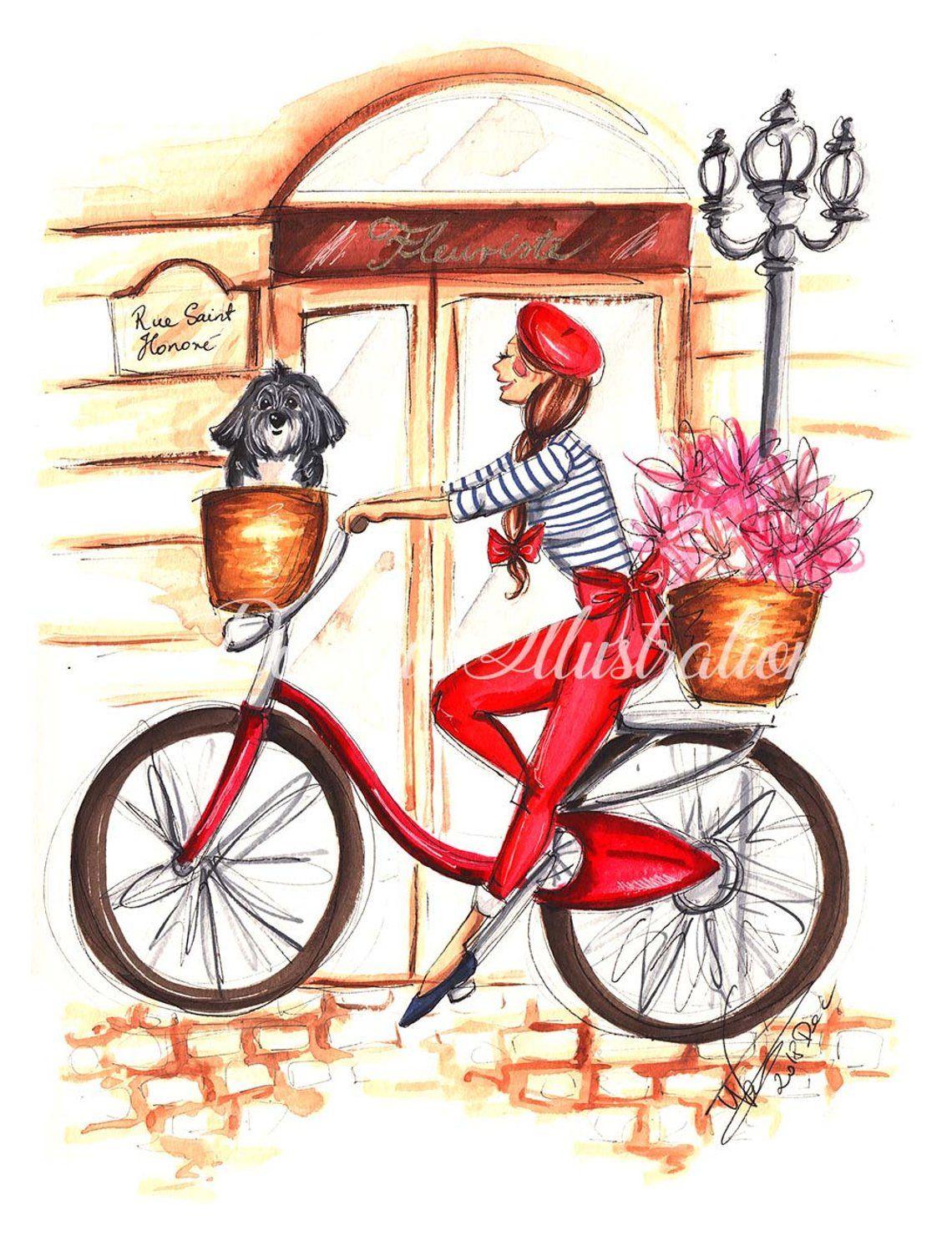 Girl on bike printable art bicycle print paris art