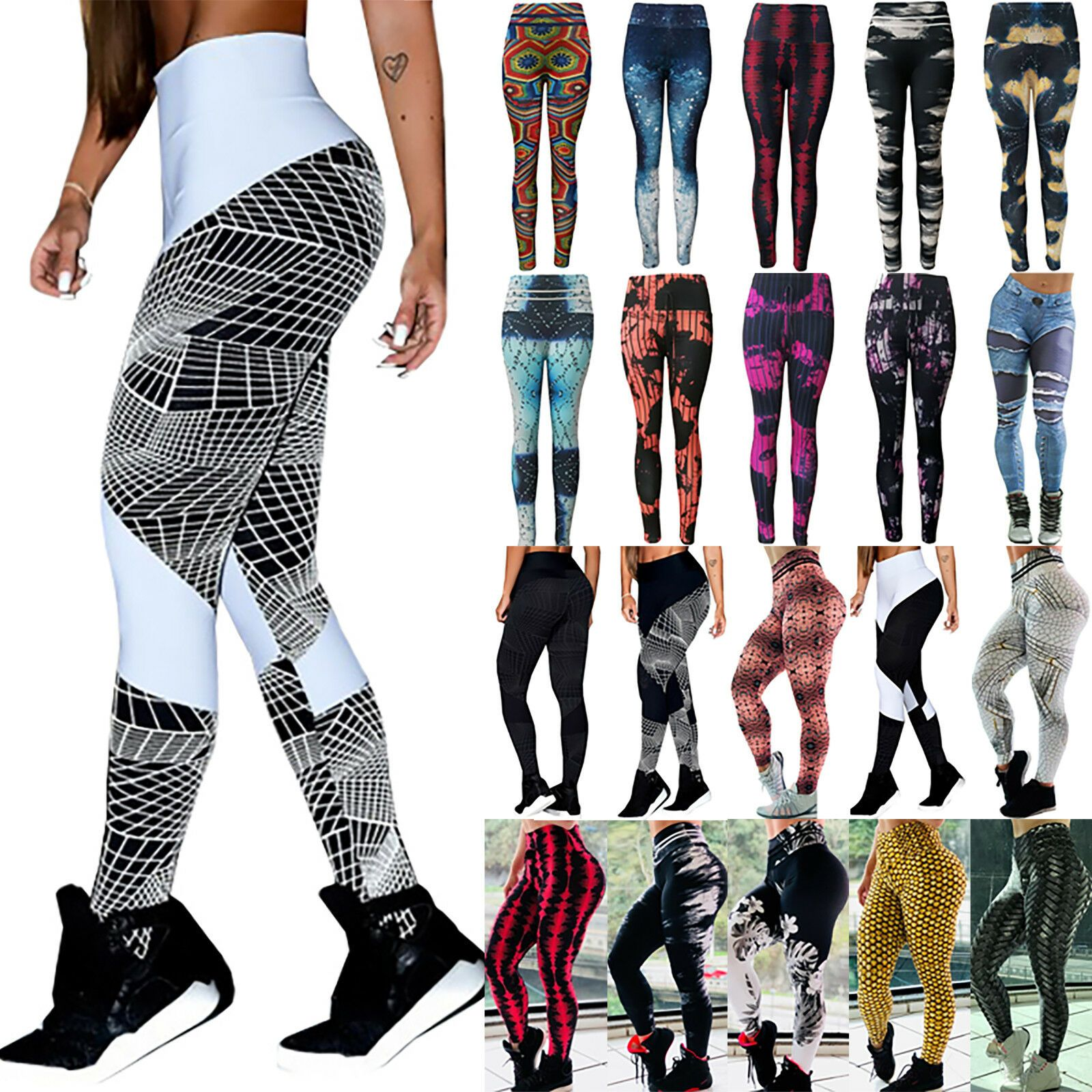 e6de08ff6 Women Printed Yoga Pants Fitness Leggings Jogging Gym Exercise Sports  Trousers