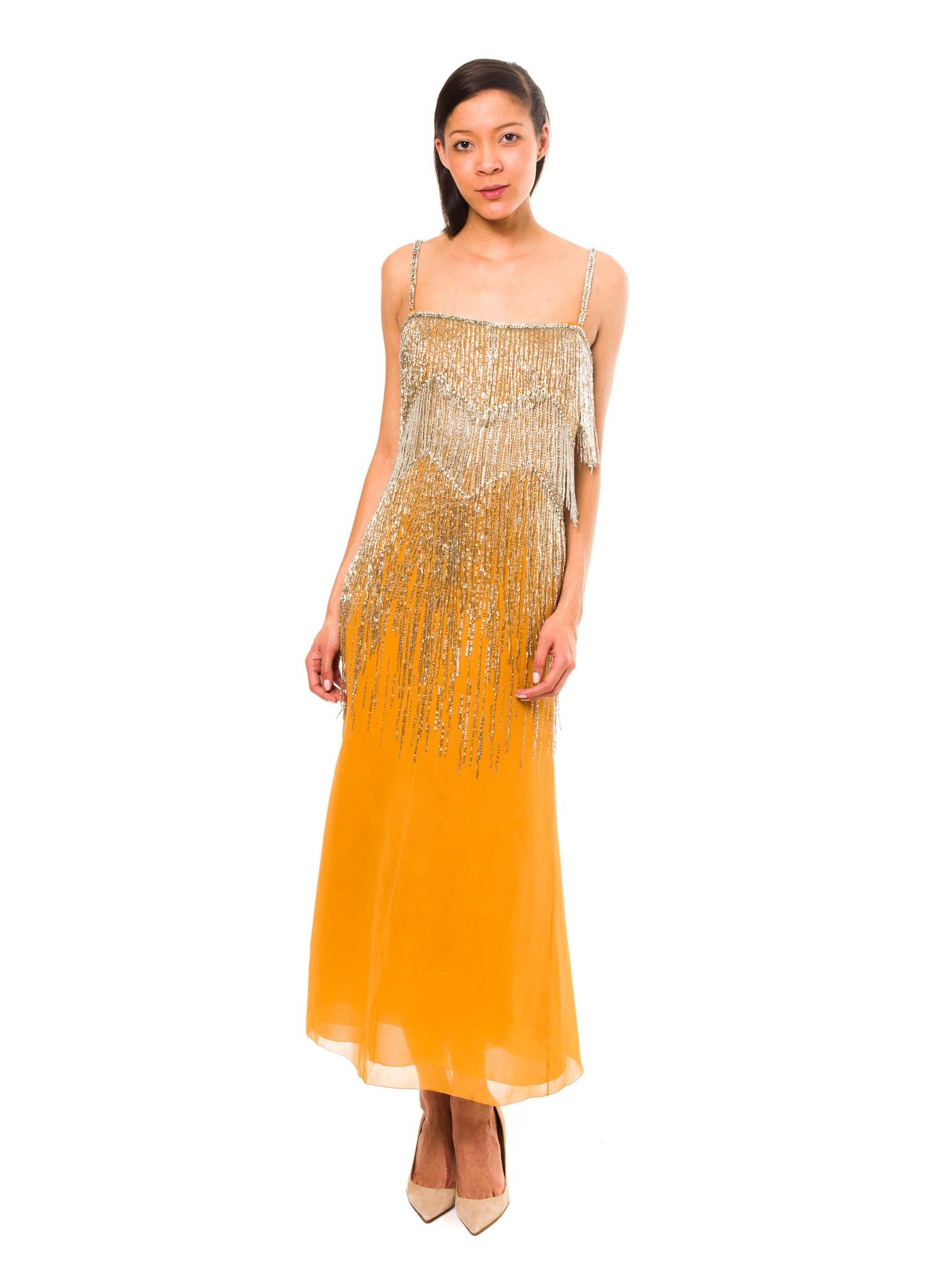 Christian Dior Haute Couture Beaded Fringe Chiffon Gown