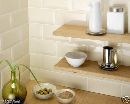 Details About Wall Tiles Gloss Cream Bevel Subway Tile