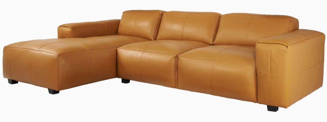 Posada canap 3 places en cuir avec m ridienne gauche - Canape avec meridienne pas cher ...