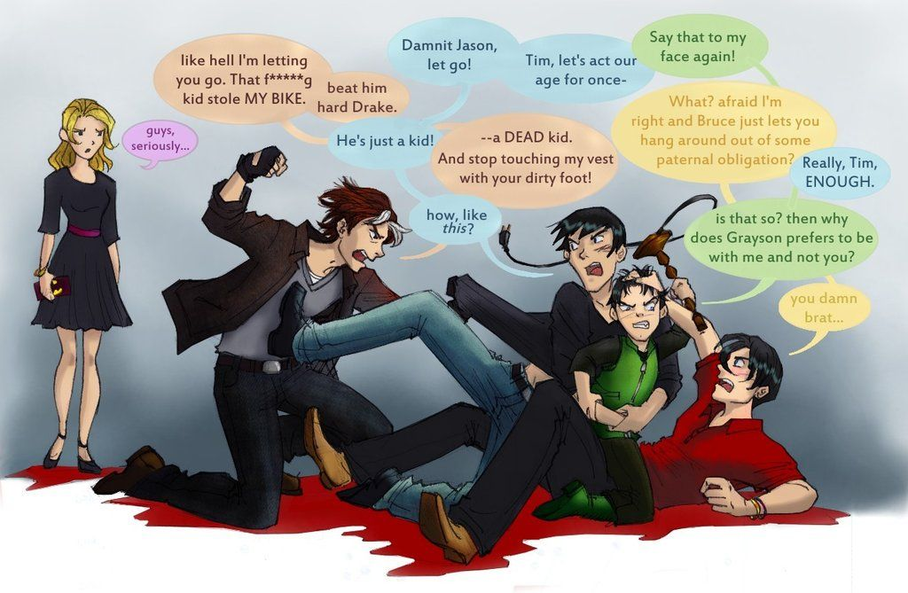 Jason Todd about to punch Dick Grayson who's holding Damian Wayne who is  attacking Tim Drake on the ground.