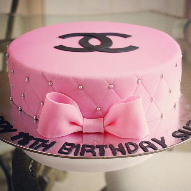 Pink Channel Cake. A simple but sweet 18th birthday cake ...
