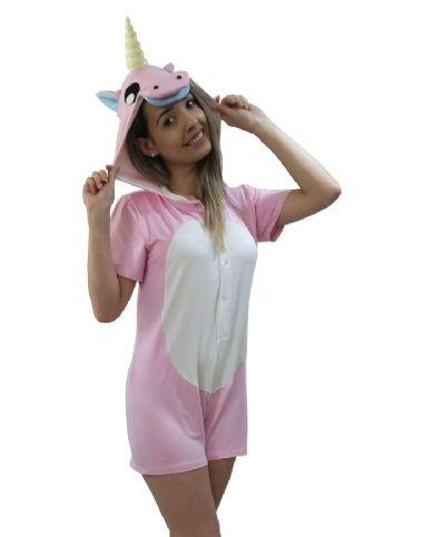ce327d843ebcc5 Pijama Macacão Unicórnio Curto | Adoro Pijamas | Pijama Feminino ...