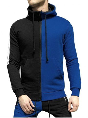 Color Blocking Zip Up Casual Hooded Jacket
