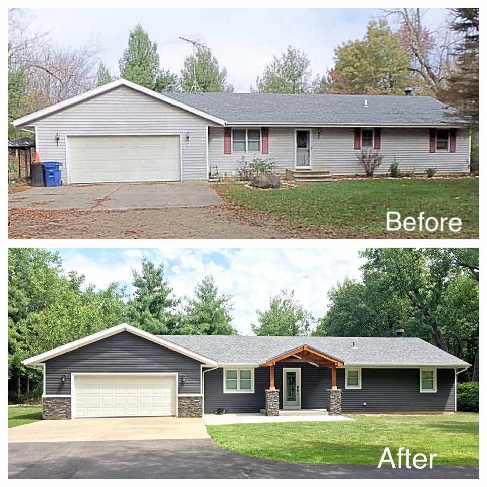 Reno On A Budget Before And After Photo Of A Home Exterior Transformed With Stacked Stone Pane Ranch House Exterior Home Exterior Makeover Ranch House Remodel