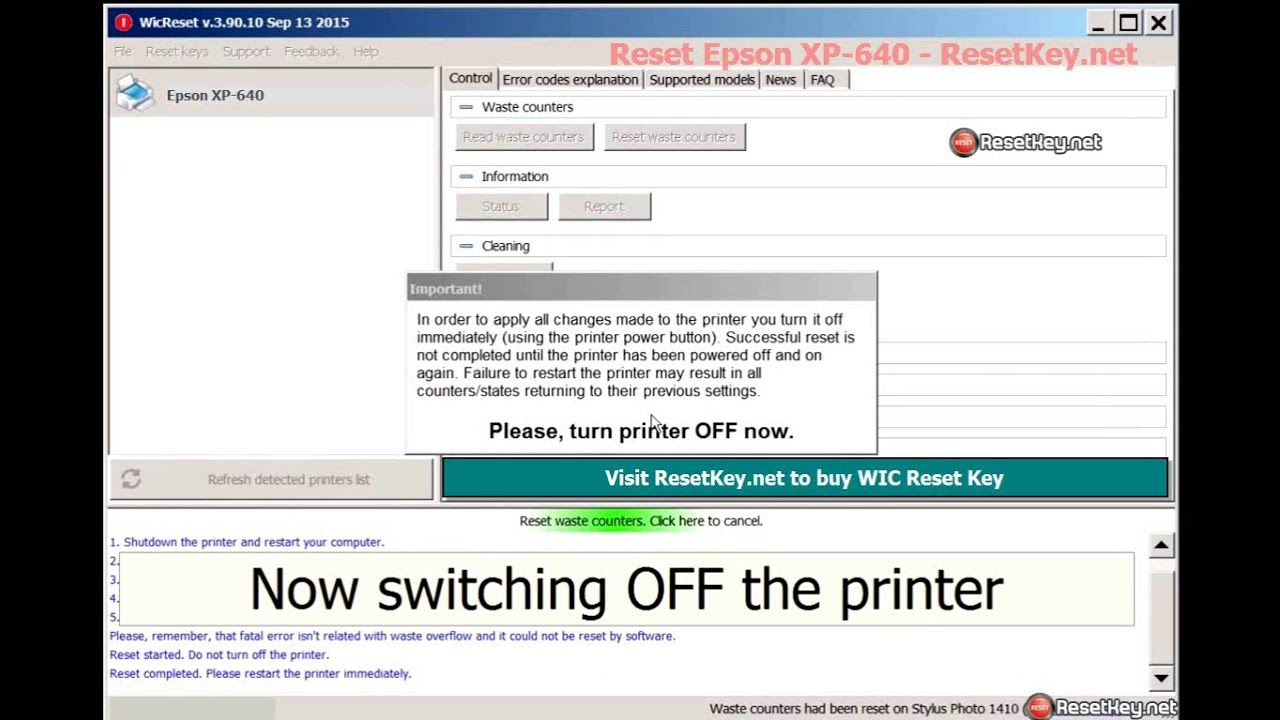 Reset Epson Xp 640 Printer Ink Pads Are At The End Of Their