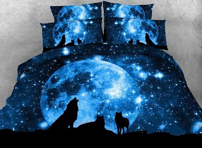 3d Wolf And Galaxy Printed Cotton Luxury 4 Piece Blue Bedding Sets