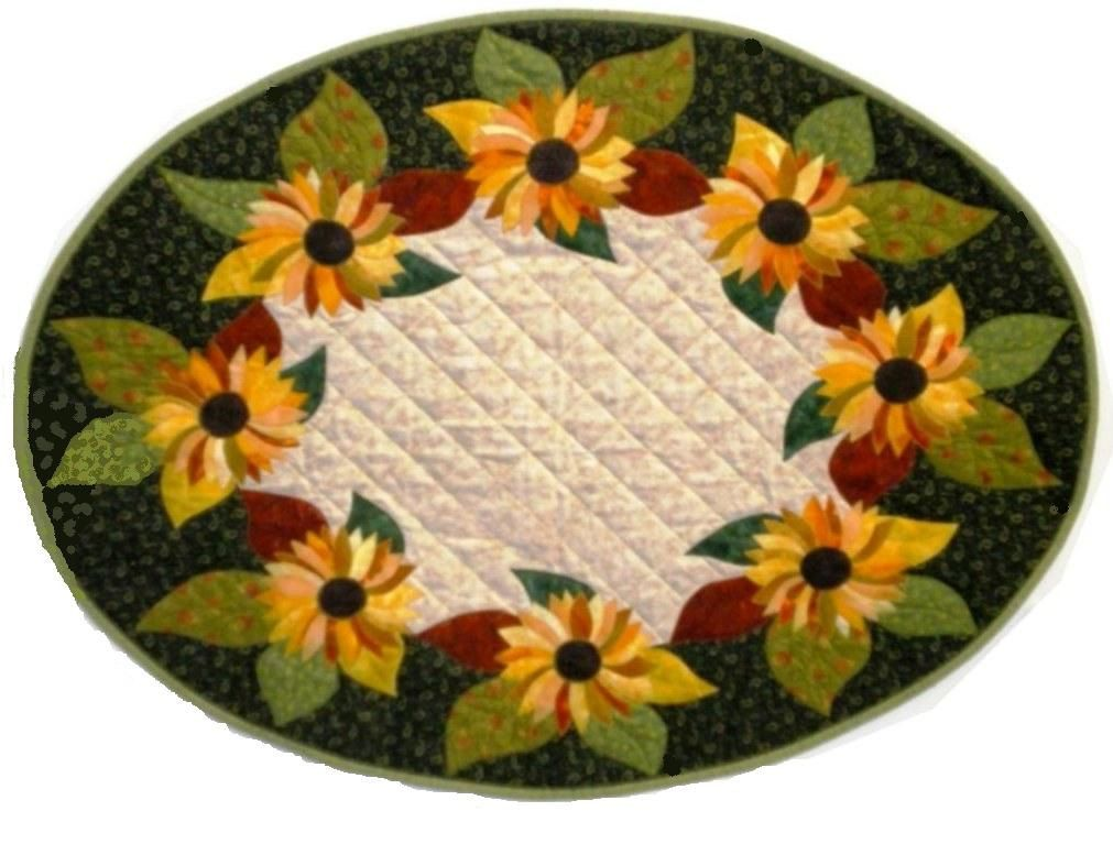 Image Detail For  Sunflower Oval Table Runner Quilt Pattern By Reezehanson  On Etsy