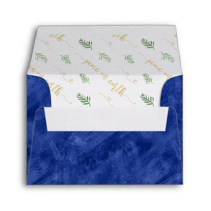 Peace On Earth Watercolor Typography Gold Amp Blue Envelope Patterns Pattern Special Unique Design Gift Watercolor Typography Blue Envelopes Peace On Earth
