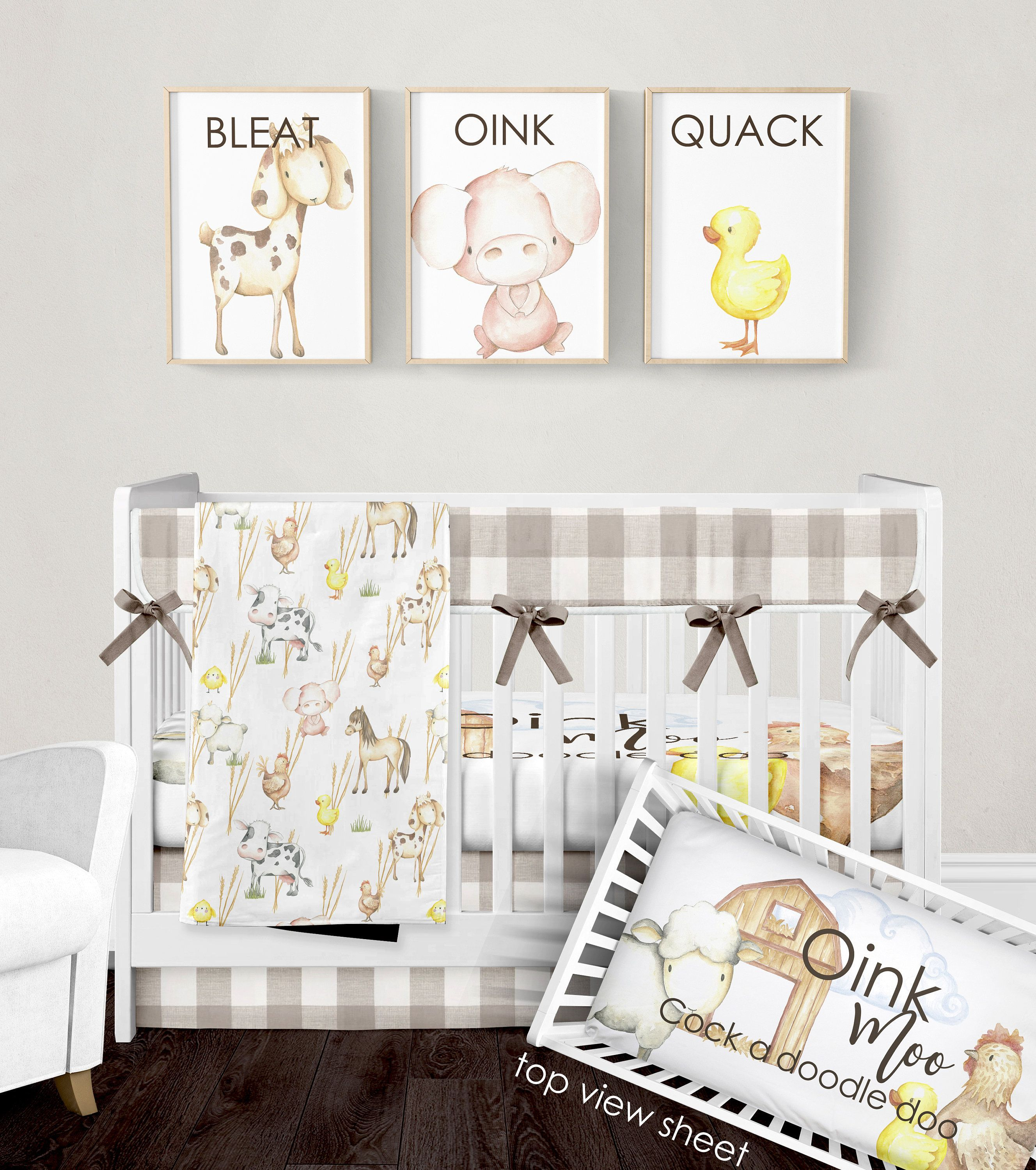 Crib Bedding Set Farm Animal Nursery Bedding Gender Neutral