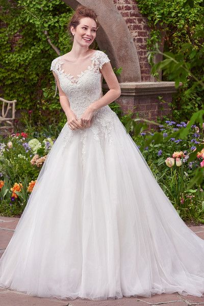 9b183eab0c22 Romantic wedding dress - ball gown with lace bodice, tulle skirt and  illusion bateau neckline - Mae from Rebecca Ingram by @maggiesottero