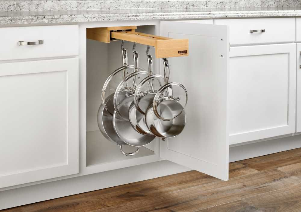 Rev A Shelf Glideware Pull Out Cabinet Organizer For Pots Pans Walmart Com Natural Cabinets Rev A Shelf Cabinet Organization