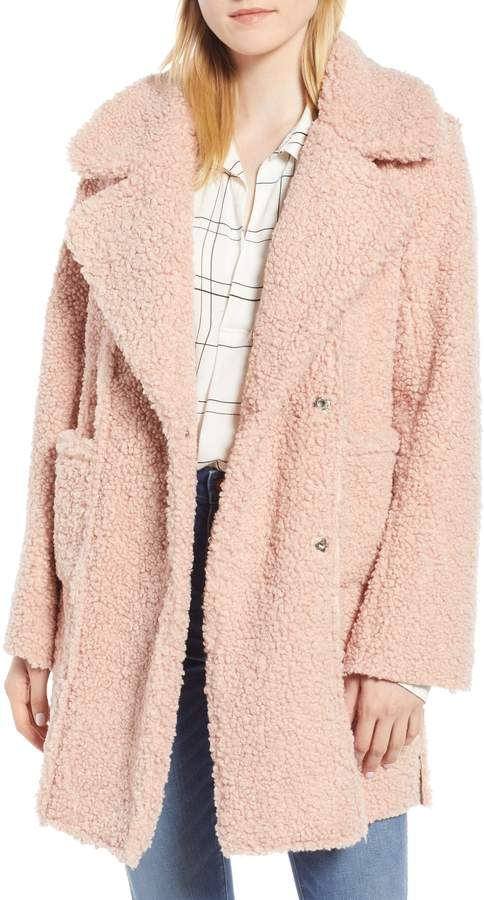 660799159be Kenneth Cole New York Notch Collar Curly Faux Shearling Coat ...