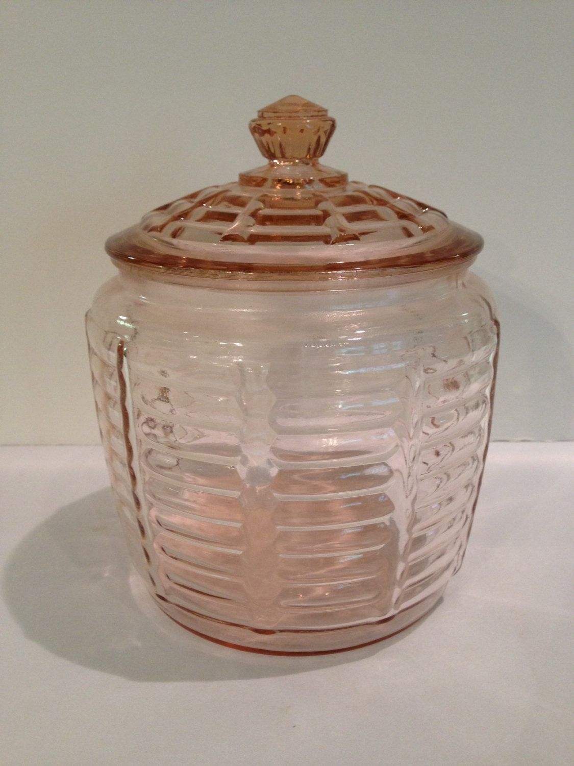 Anchor Hocking Pink Depression Glass Biscuit/Cookie Jar, Vintage, 1940s,  Paneled U0026