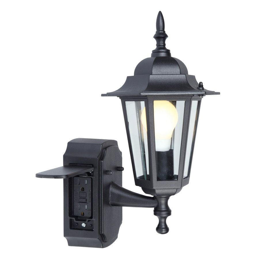 Outdoor Light Get Into Focus Outdoor Light Portfolio Gfci 15 75 In H Black Outdoor Wall L Black Outdoor Wall Lights Front Porch Lighting Outdoor Wall Lighting