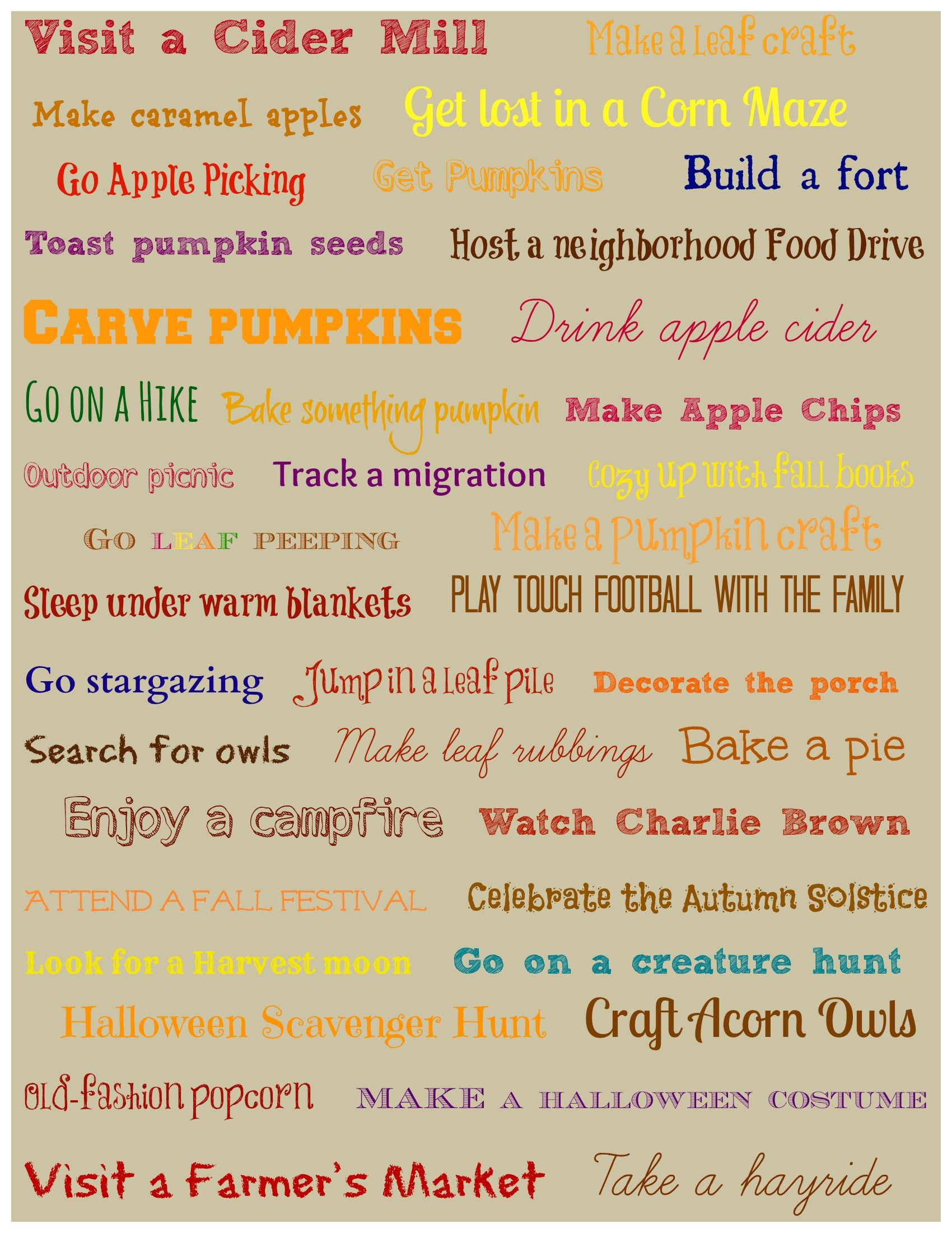 40 Things To Do This Fall Bucket List W Free Printable