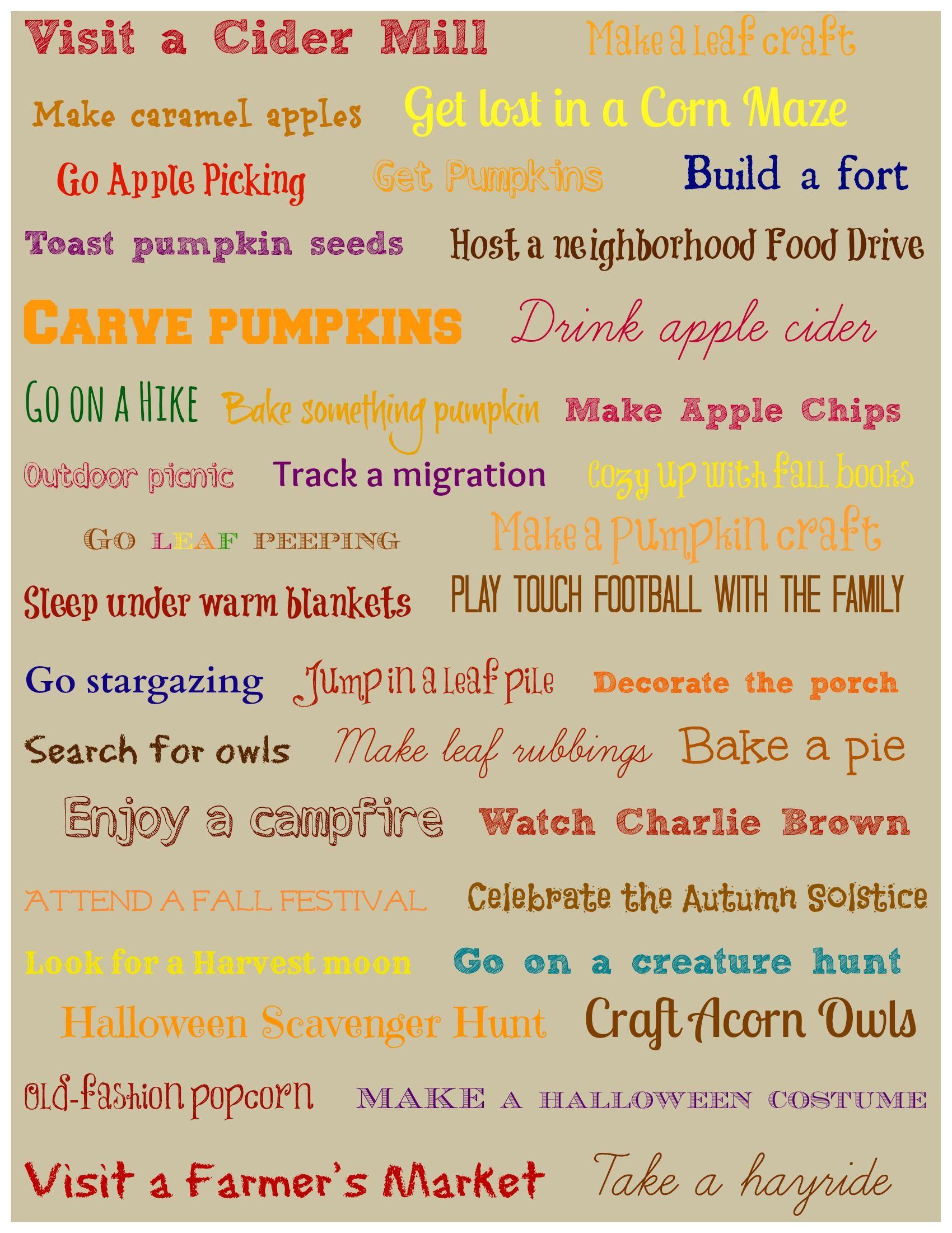 40 Things To Do This Fall Bucket List W Free Printable