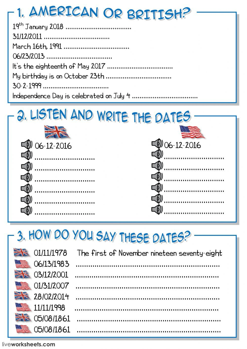 Days And Dates Interactive And Downloadable Worksheet You Can Do The Exercises Online Or Download The Works Teaching English Alphabet For Kids English Lessons [ 1413 x 1000 Pixel ]