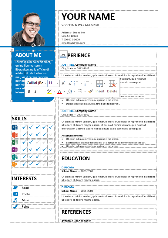 Resume Template Ms Word Wellorganized Tableformatted And Fully Editable Free Resume