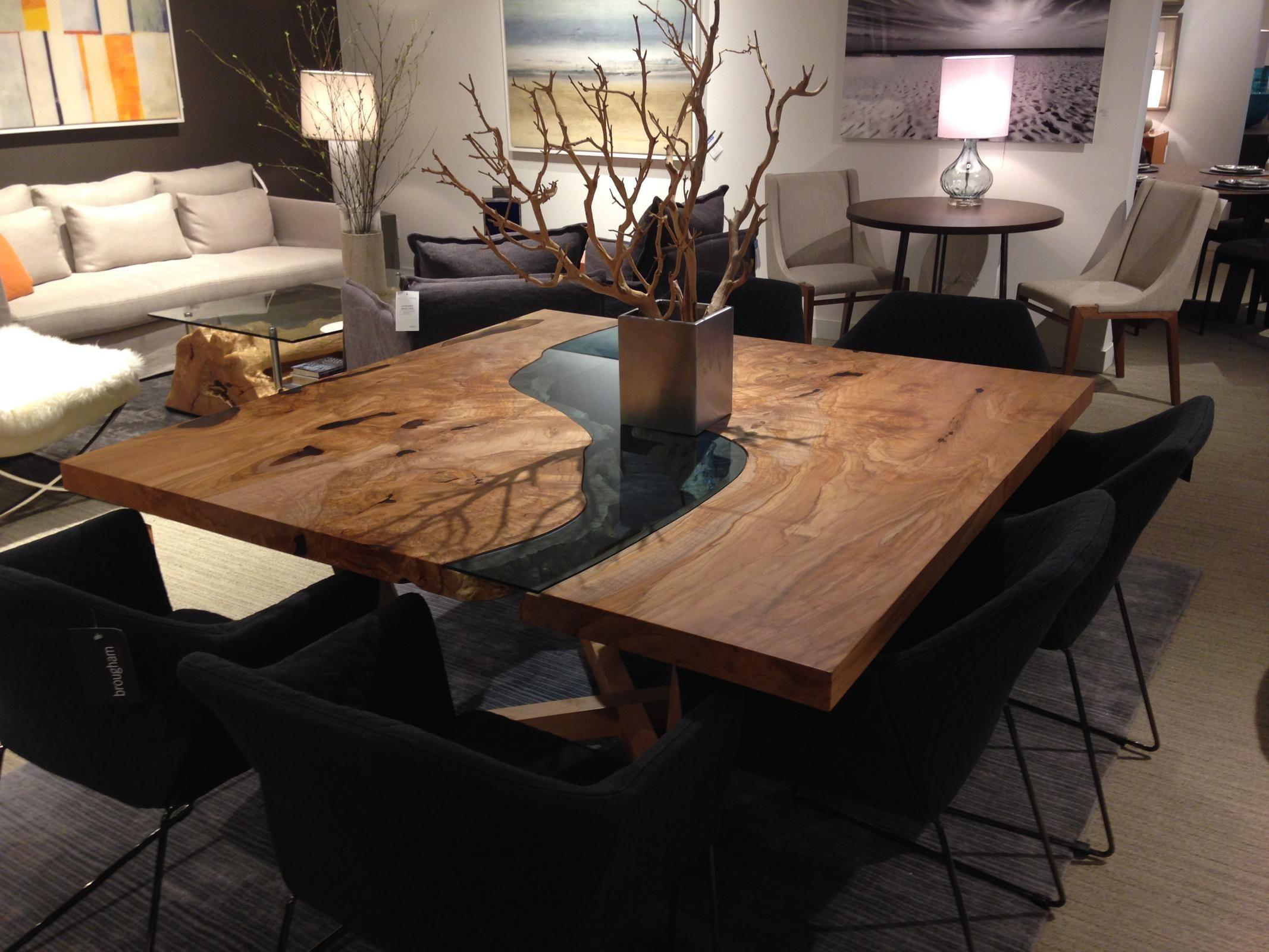 Portfolio Modern Square Dining Table Live Edge Dining Table