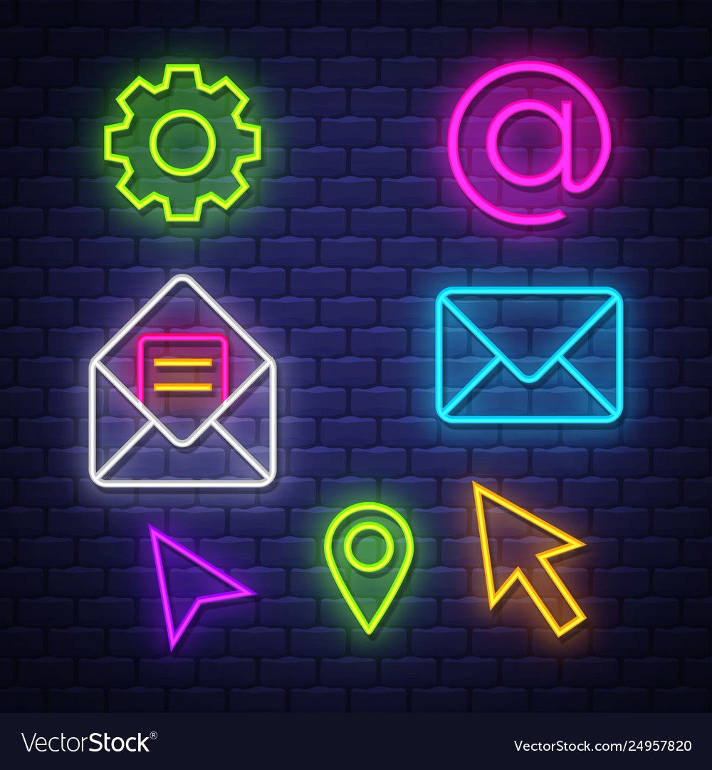 communication neon signs collection vector image
