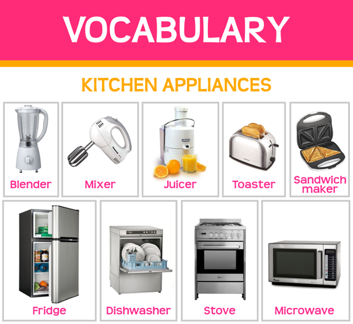 Kitchen appliances kitchen vocabulary pinterest for Kitchen set name in english