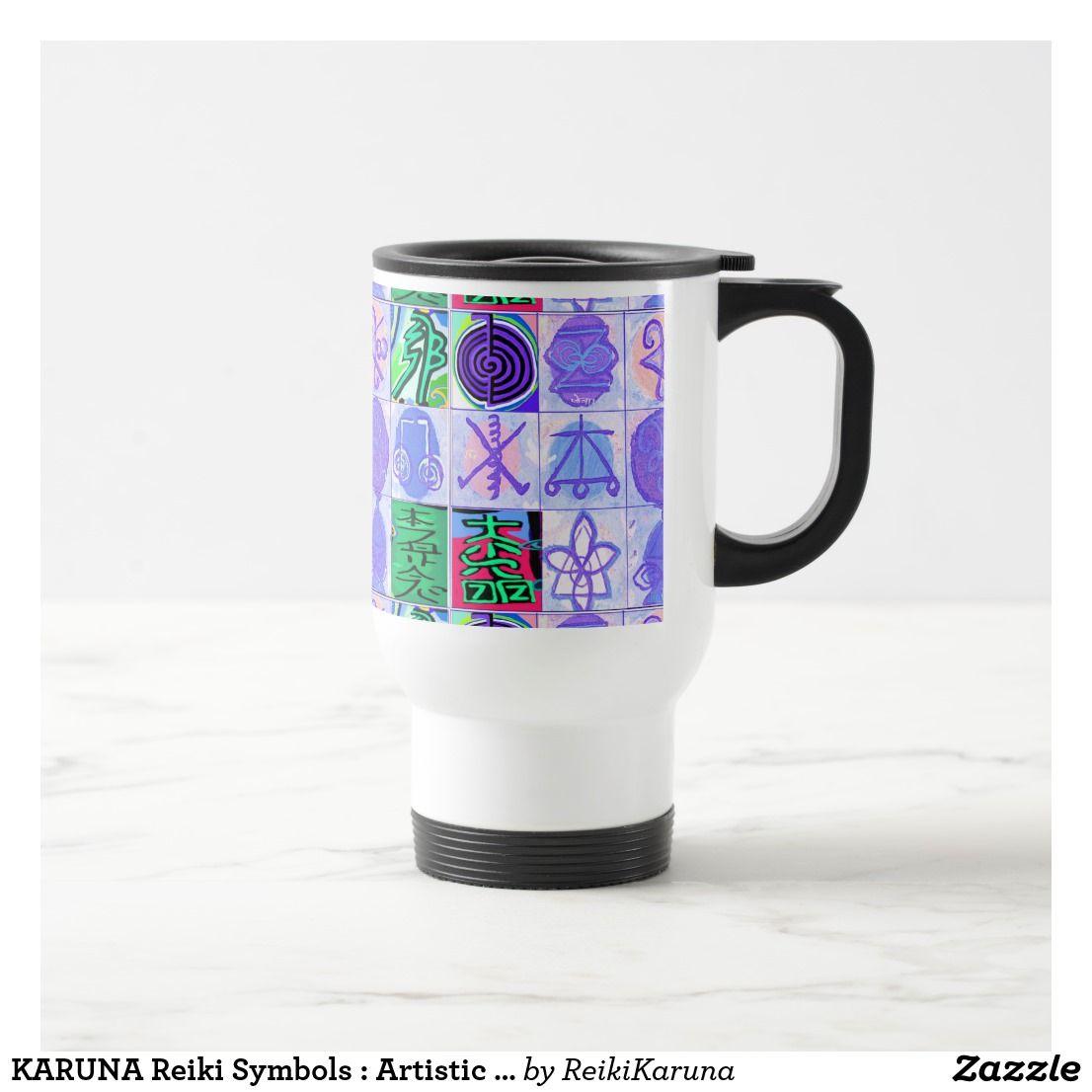 Karuna reiki symbols artistic rendering travel mug