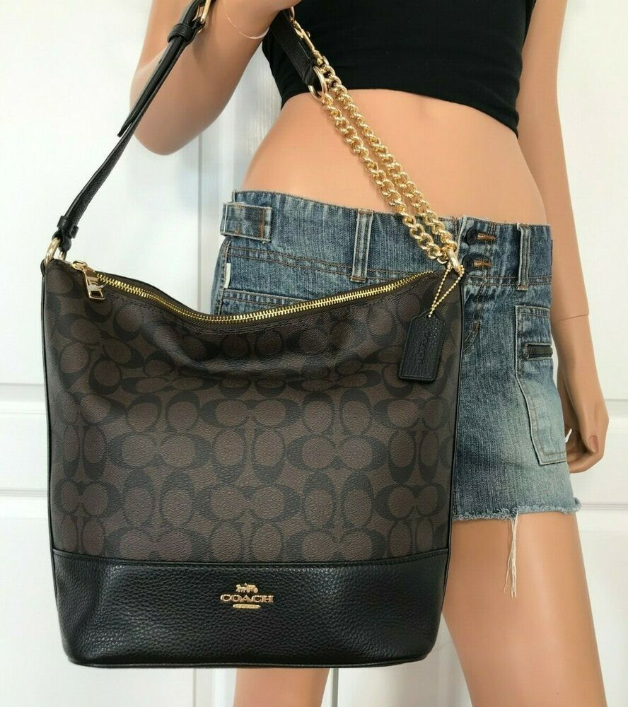 Coach F72852 Paxton Duffle Signature Brown Black Handbag Authentic Bag 398
