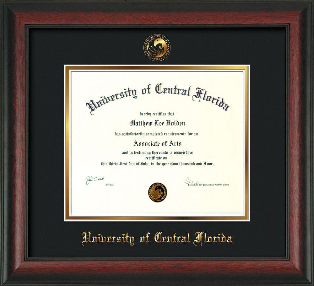 university of central florida diploma frame rosewood seal black  university of central florida diploma frame rosewood seal black gold professional
