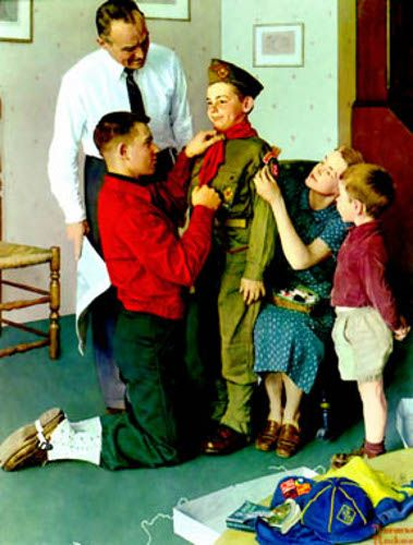 I sure remember those days of dressing my son the scout!  Norman Rockwell (1894 – 1978, American)