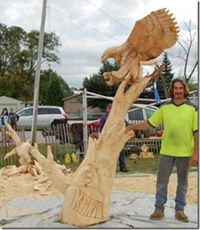 Jamie doeren chainsaw carving carved eagles chainsaw wood art